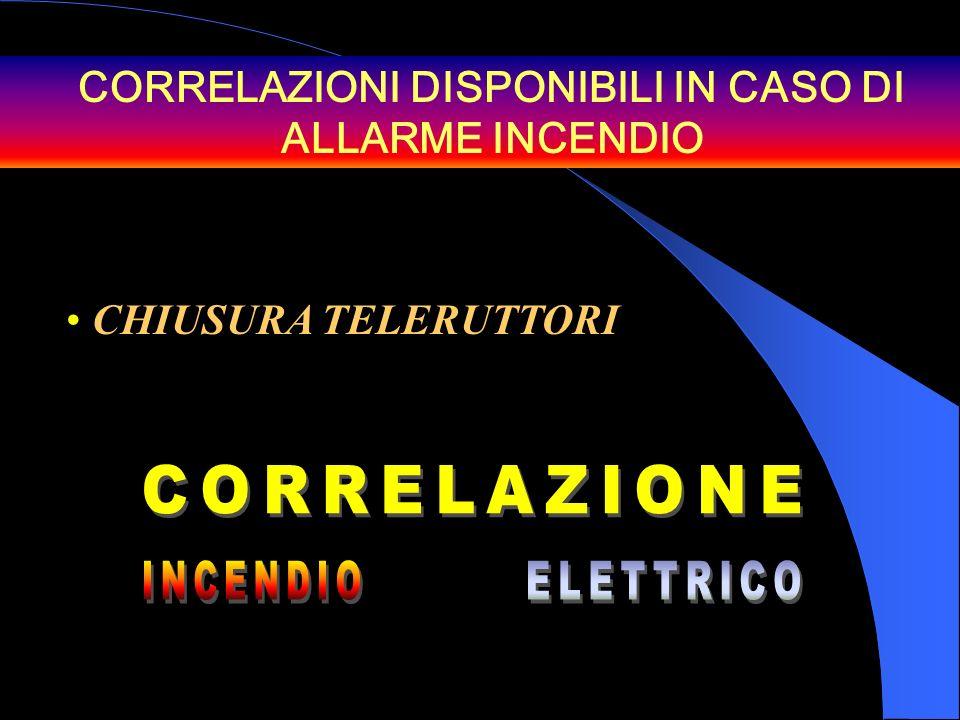CORRELAZIONI DISPONIBILI IN CASO DI ALLARME INCENDIO