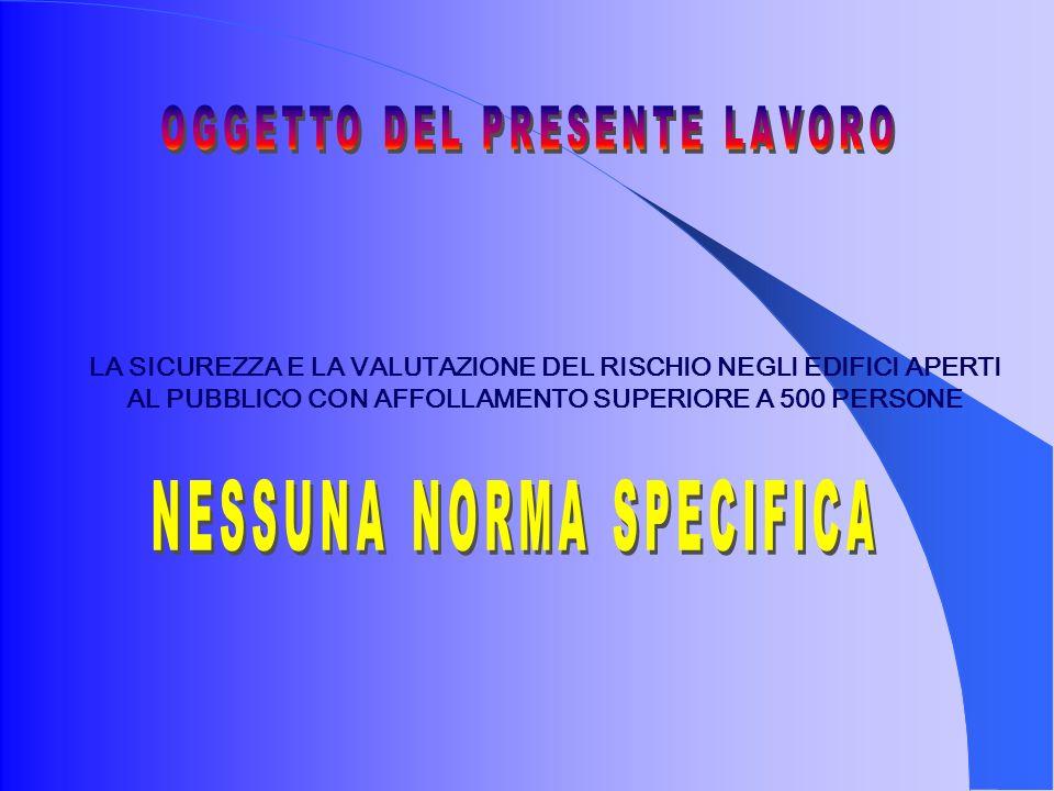 OGGETTO DEL PRESENTE LAVORO NESSUNA NORMA SPECIFICA