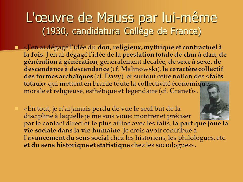 L œuvre de Mauss par lui-même (1930, candidatura Collège de France)