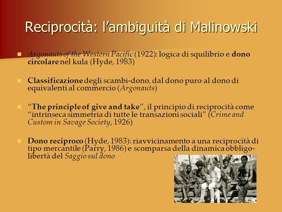 Reciprocità: l'ambiguità di Malinowski