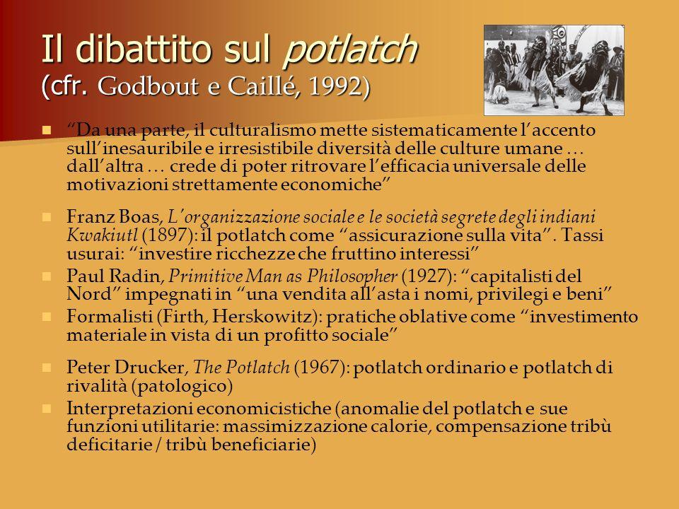 Il dibattito sul potlatch (cfr. Godbout e Caillé, 1992)