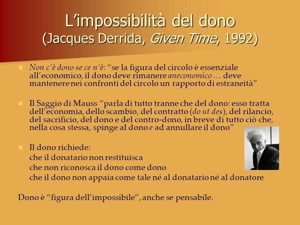 L'impossibilità del dono (Jacques Derrida, Given Time, 1992)