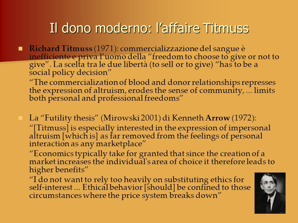 Il dono moderno: l'affaire Titmuss