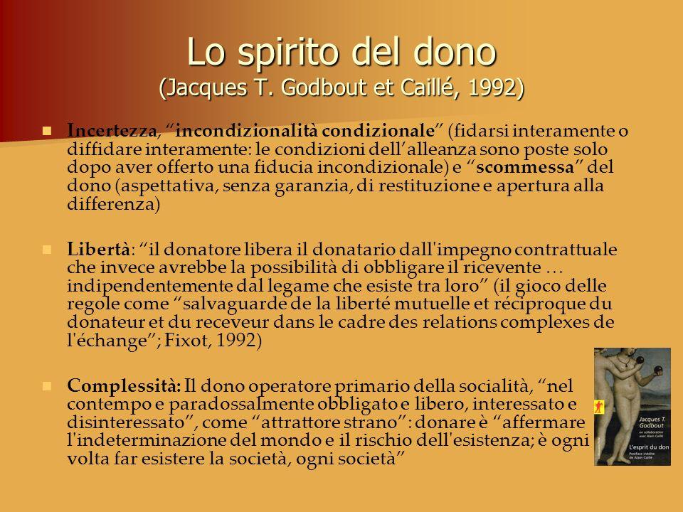 Lo spirito del dono (Jacques T. Godbout et Caillé, 1992)