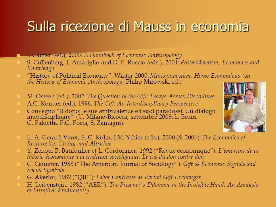 Sulla ricezione di Mauss in economia