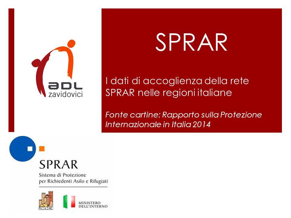SPRAR I dati di accoglienza della rete SPRAR nelle regioni italiane
