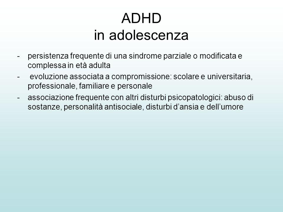 ADHD in adolescenza persistenza frequente di una sindrome parziale o modificata e complessa in età adulta.