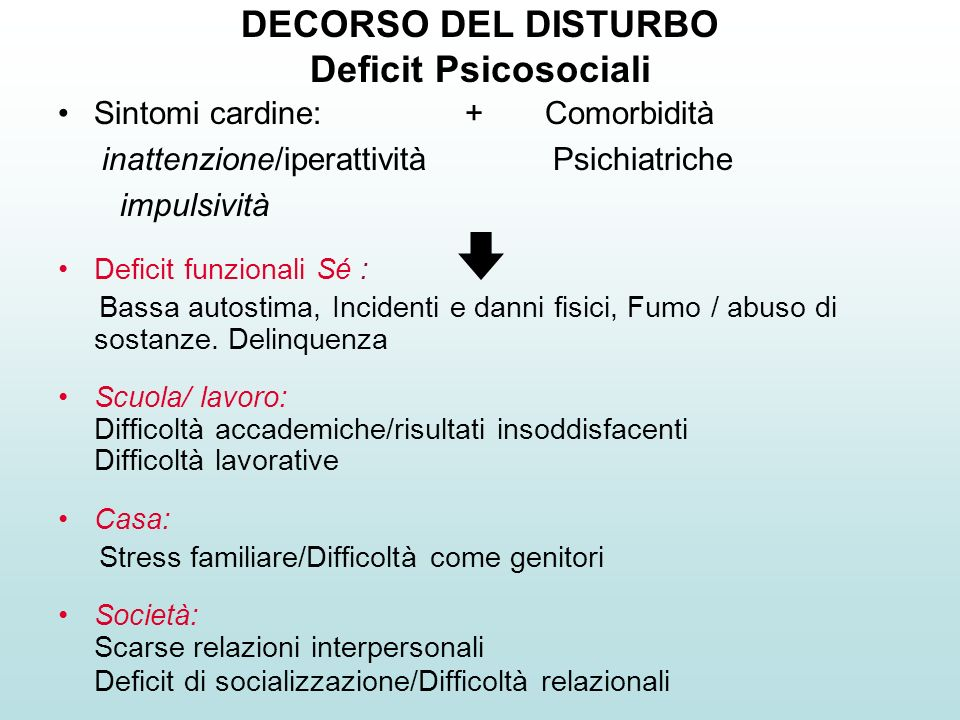 DECORSO DEL DISTURBO Deficit Psicosociali
