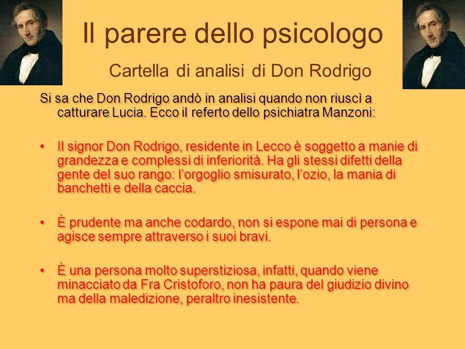 Il parere dello psicologo Cartella di analisi di Don Rodrigo