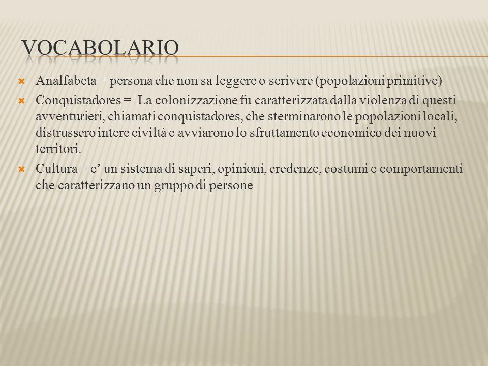 vocabolario Analfabeta= persona che non sa leggere o scrivere (popolazioni primitive)