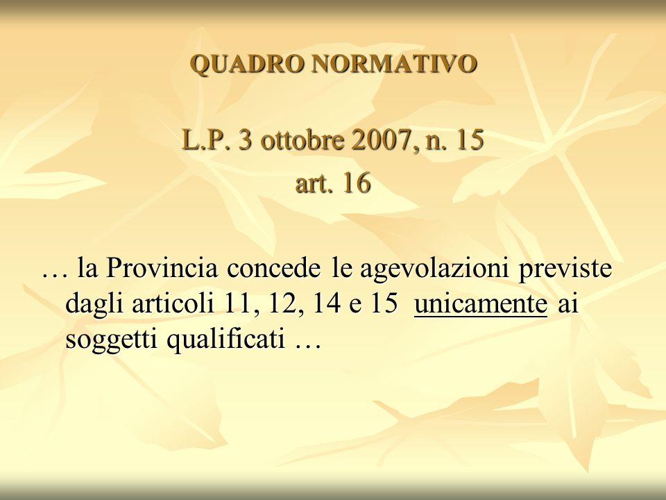 QUADRO NORMATIVO L.P. 3 ottobre 2007, n. 15. art. 16.