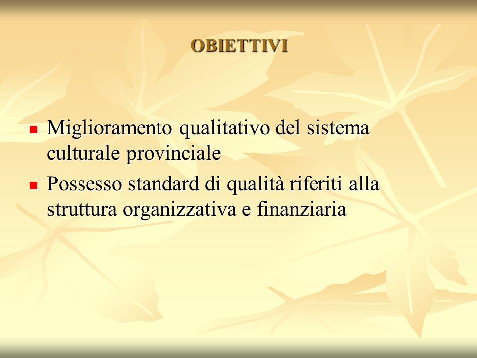 Miglioramento qualitativo del sistema culturale provinciale