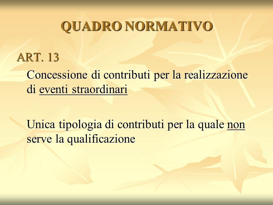 QUADRO NORMATIVO ART. 13. Concessione di contributi per la realizzazione di eventi straordinari.