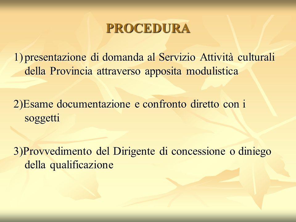 PROCEDURA 1) presentazione di domanda al Servizio Attività culturali della Provincia attraverso apposita modulistica.