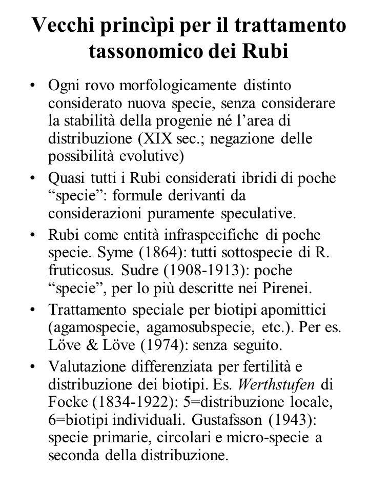 Vecchi princìpi per il trattamento tassonomico dei Rubi