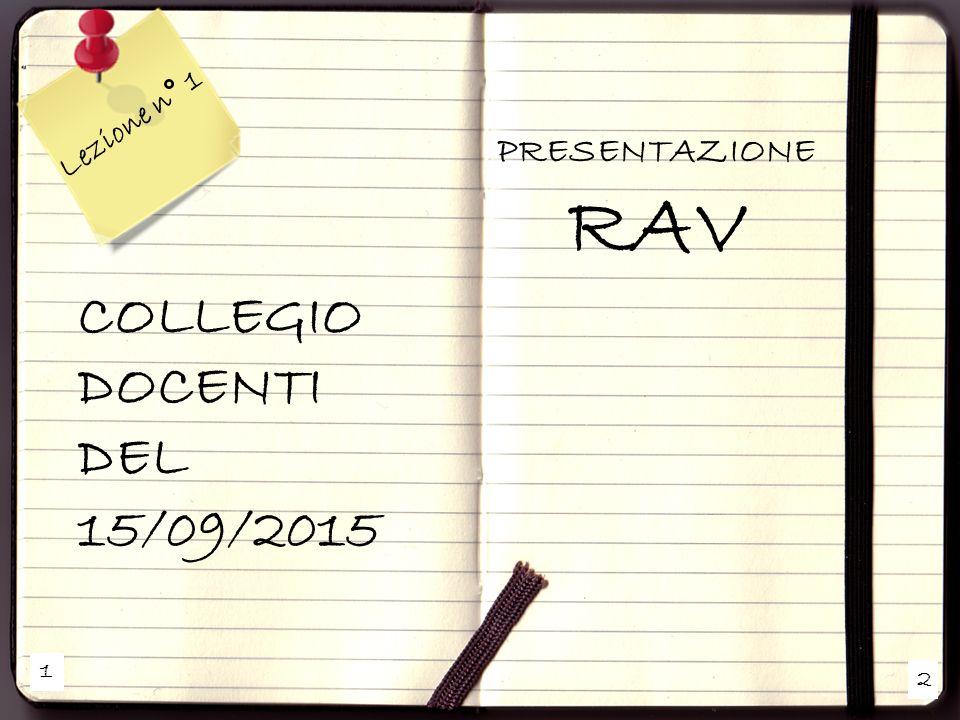 Lezione n° 1 PRESENTAZIONE RAV COLLEGIO DOCENTI DEL 15/09/2015 1 2