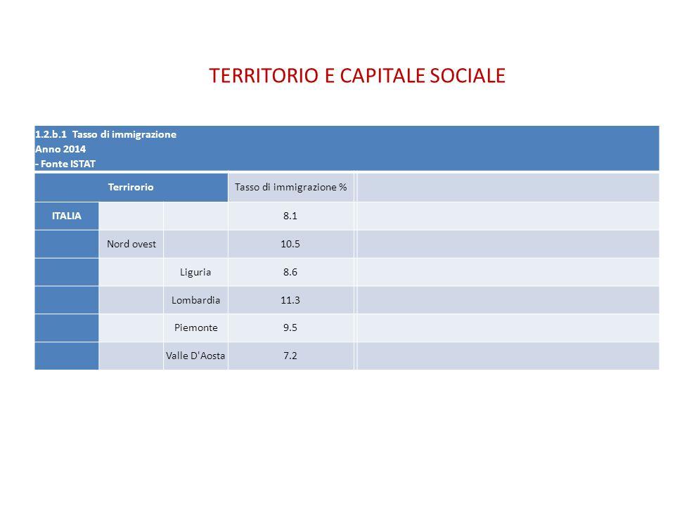 TERRITORIO E CAPITALE SOCIALE