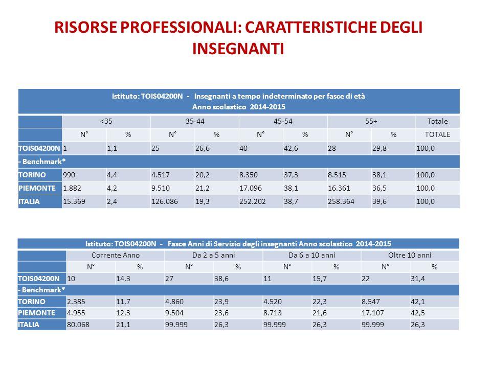 RISORSE PROFESSIONALI: CARATTERISTICHE DEGLI INSEGNANTI
