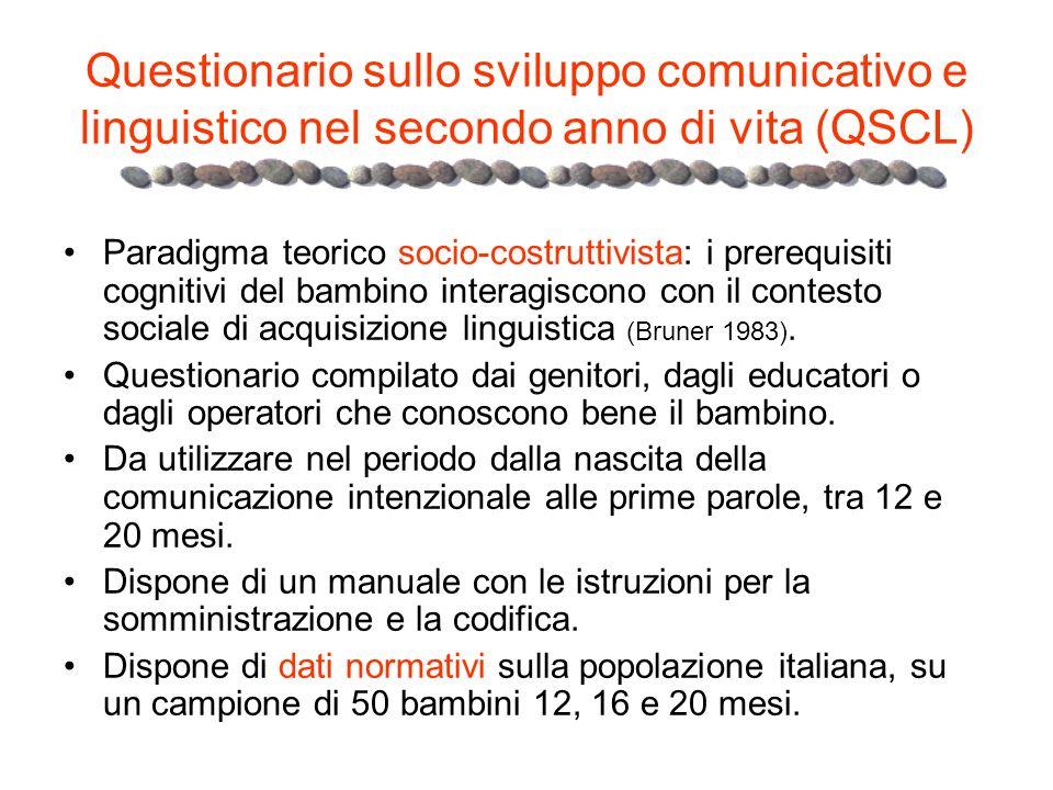 Questionario sullo sviluppo comunicativo e linguistico nel secondo anno di vita (QSCL)