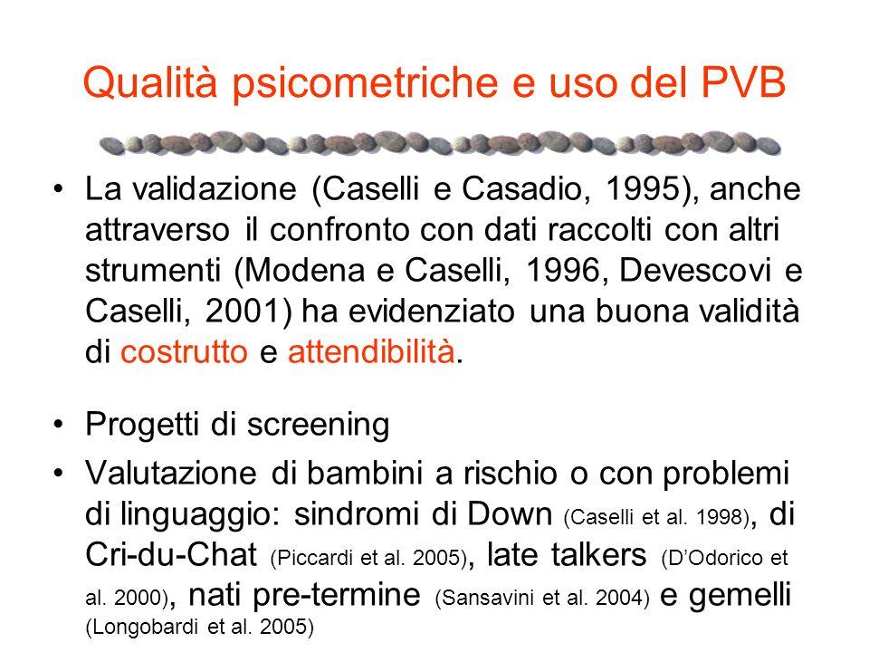 Qualità psicometriche e uso del PVB