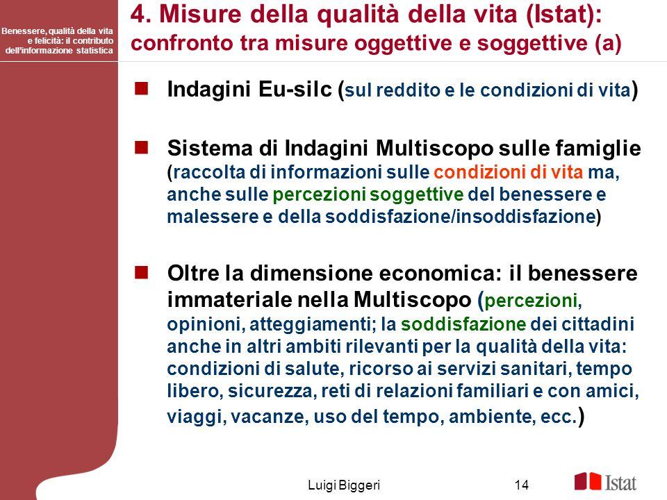 4. Misure della qualità della vita (Istat): confronto tra misure oggettive e soggettive (a)