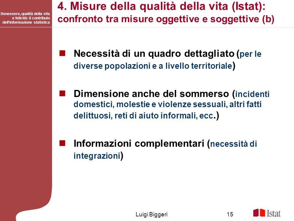 4. Misure della qualità della vita (Istat): confronto tra misure oggettive e soggettive (b)