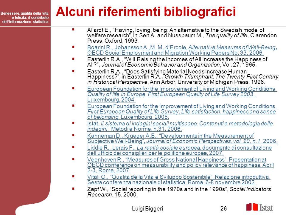 Alcuni riferimenti bibliografici