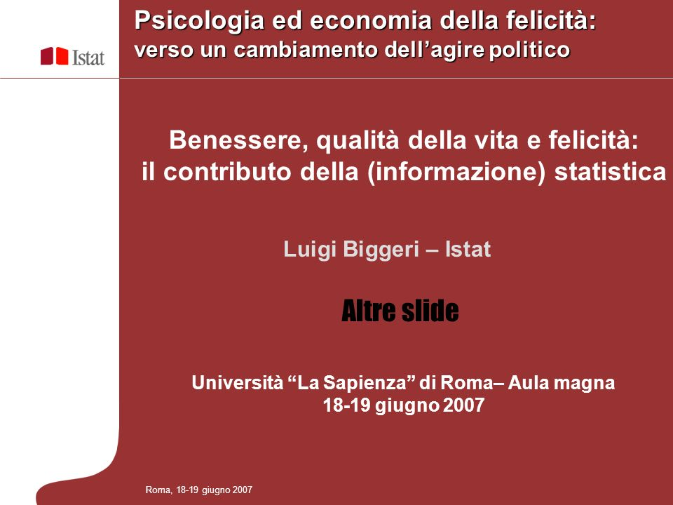 Università La Sapienza di Roma– Aula magna 18-19 giugno 2007