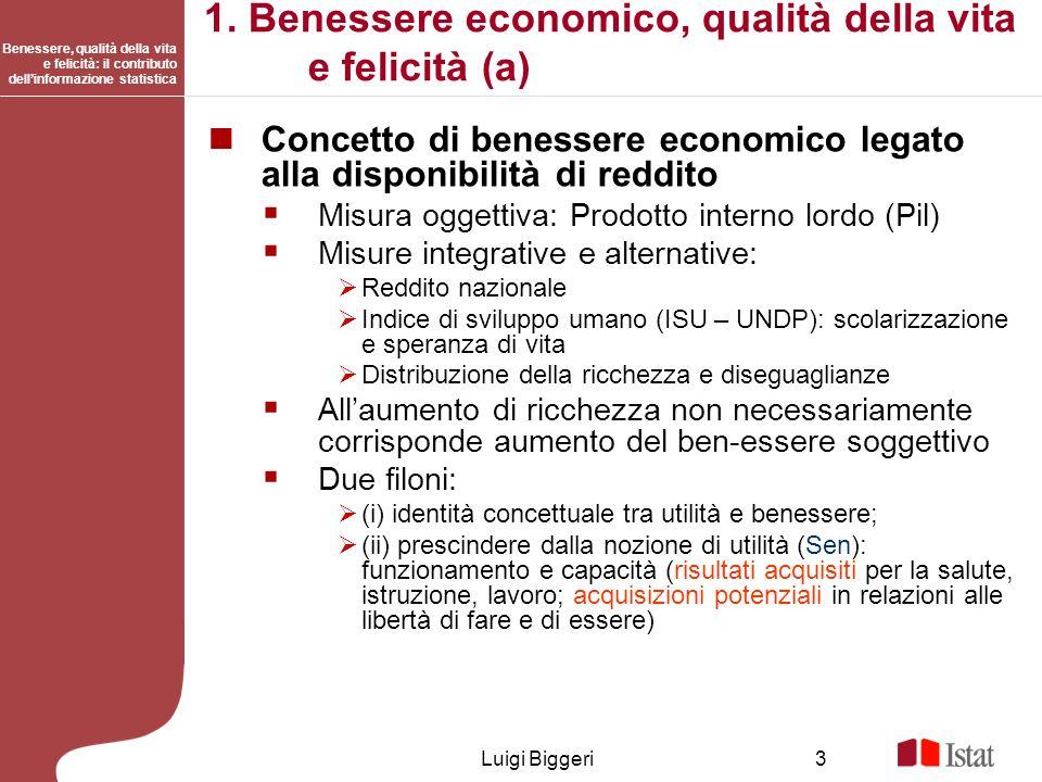 1. Benessere economico, qualità della vita e felicità (a)