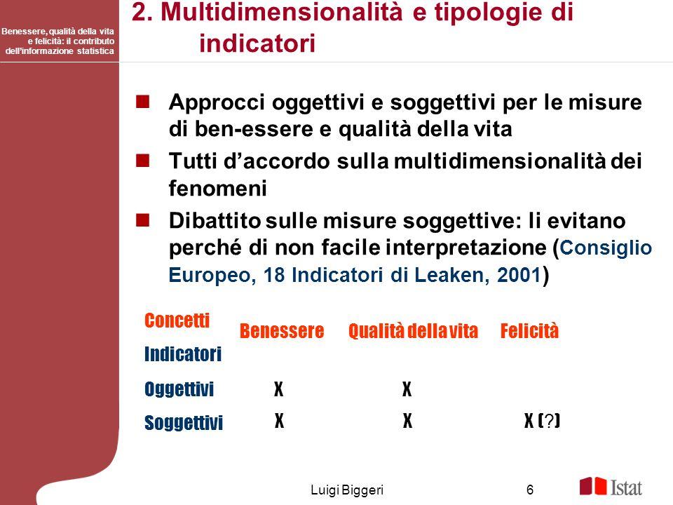 2. Multidimensionalità e tipologie di indicatori