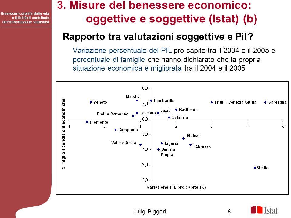 3. Misure del benessere economico: oggettive e soggettive (Istat) (b)