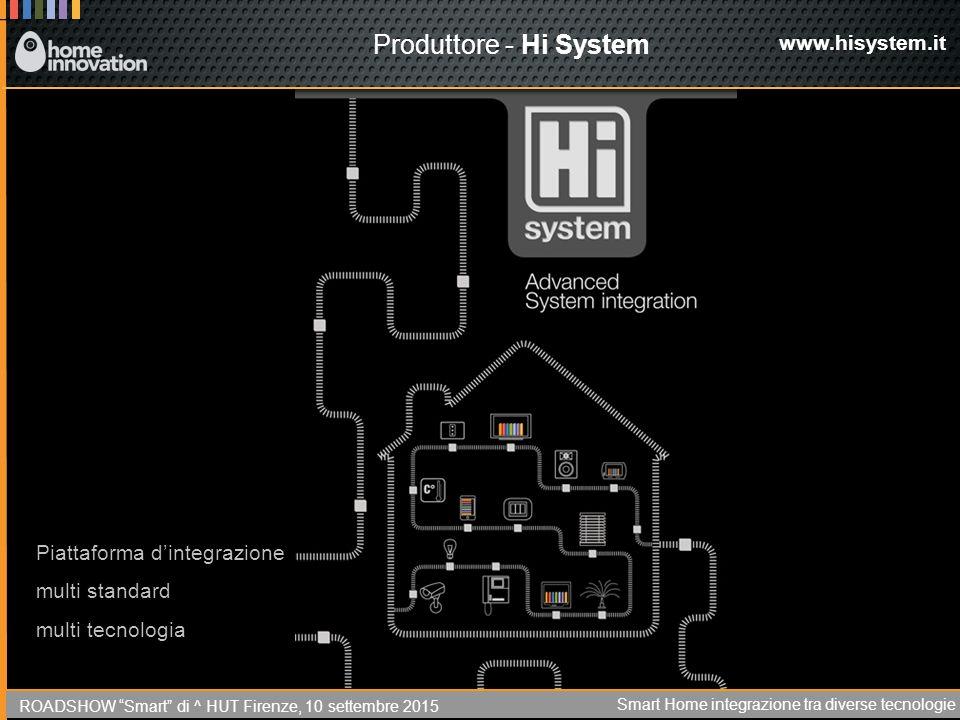 Produttore - Hi System www.hisystem.it Piattaforma d'integrazione