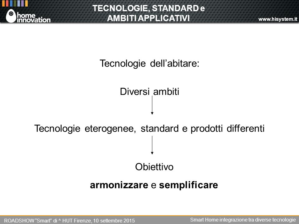 TECNOLOGIE, STANDARD e AMBITI APPLICATIVI