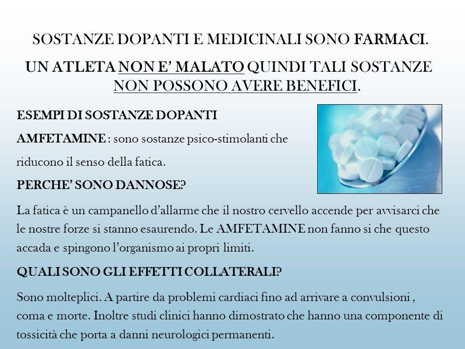 SOSTANZE DOPANTI E MEDICINALI SONO FARMACI.