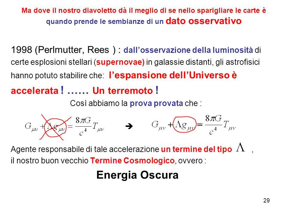 1998 (Perlmutter, Rees ) : dall'osservazione della luminosità di