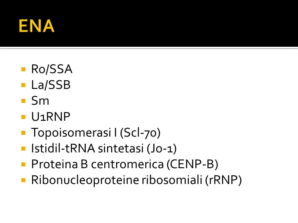 ENA Ro/SSA La/SSB Sm U1RNP Topoisomerasi I (Scl-70)