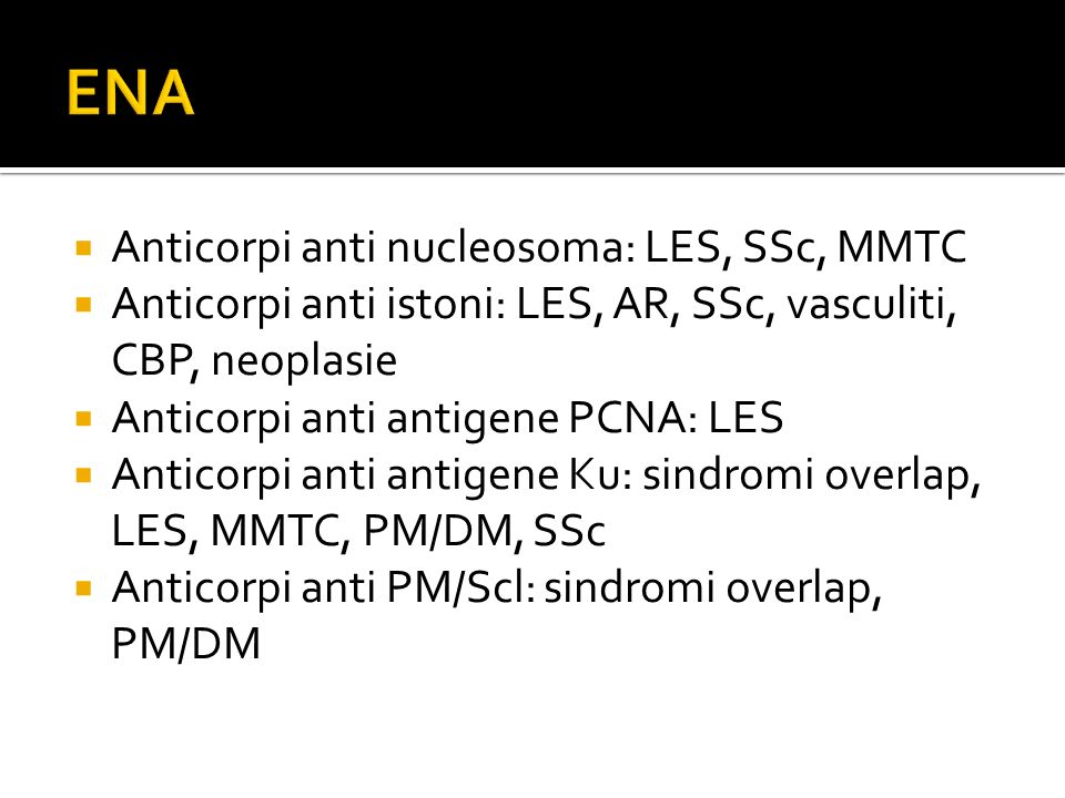 ENA Anticorpi anti nucleosoma: LES, SSc, MMTC