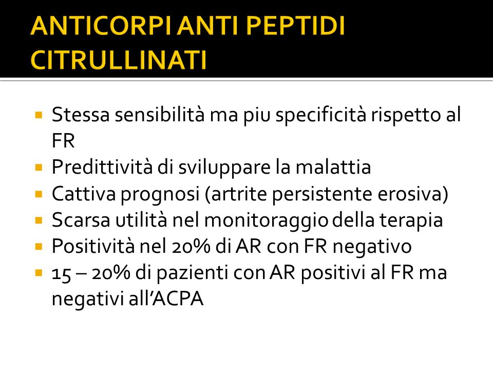 ANTICORPI ANTI PEPTIDI CITRULLINATI