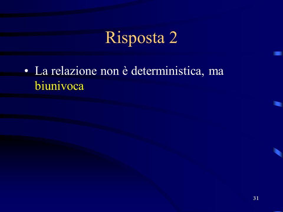 Risposta 2 La relazione non è deterministica, ma biunivoca