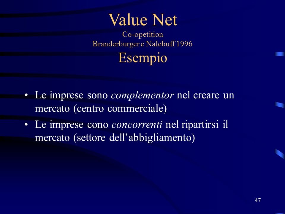 Value Net Co-opetition Branderburger e Nalebuff 1996 Esempio