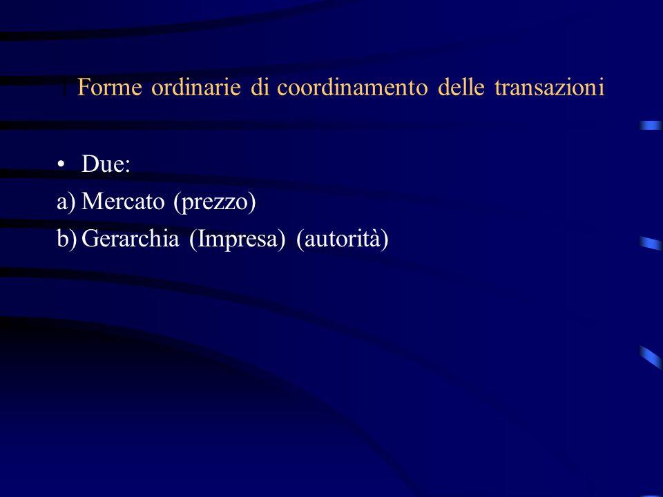 1 Forme ordinarie di coordinamento delle transazioni