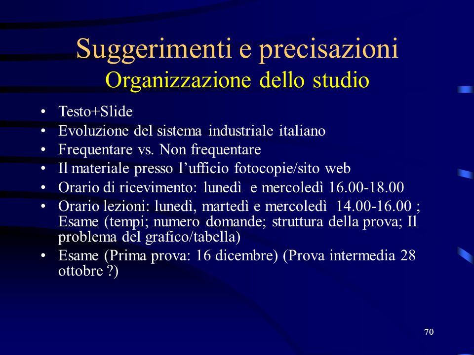 Suggerimenti e precisazioni Organizzazione dello studio
