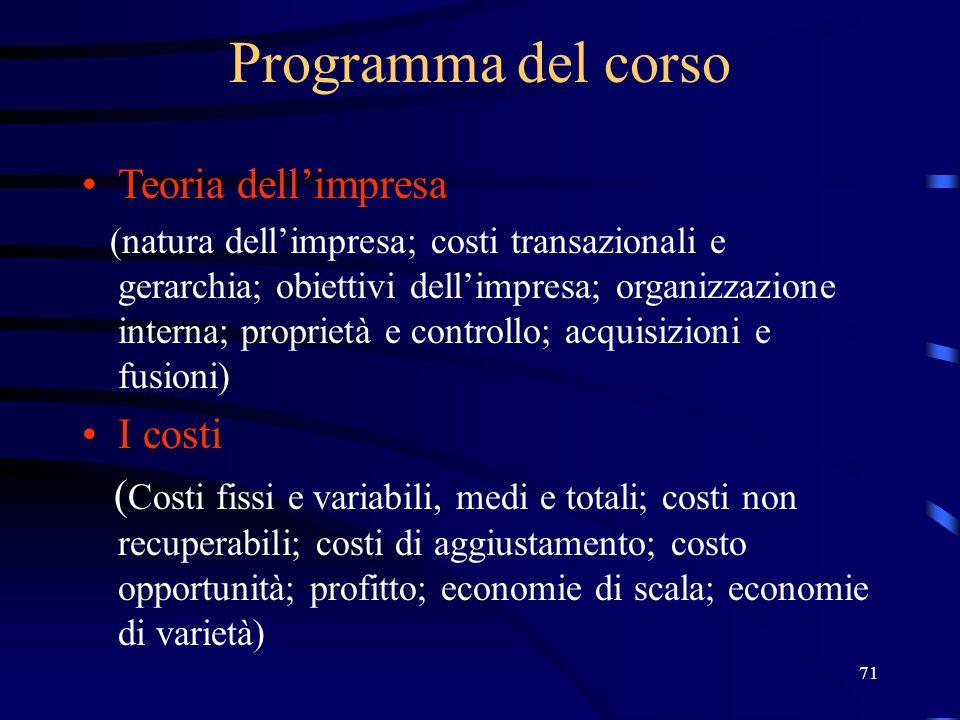 Programma del corso Teoria dell'impresa I costi
