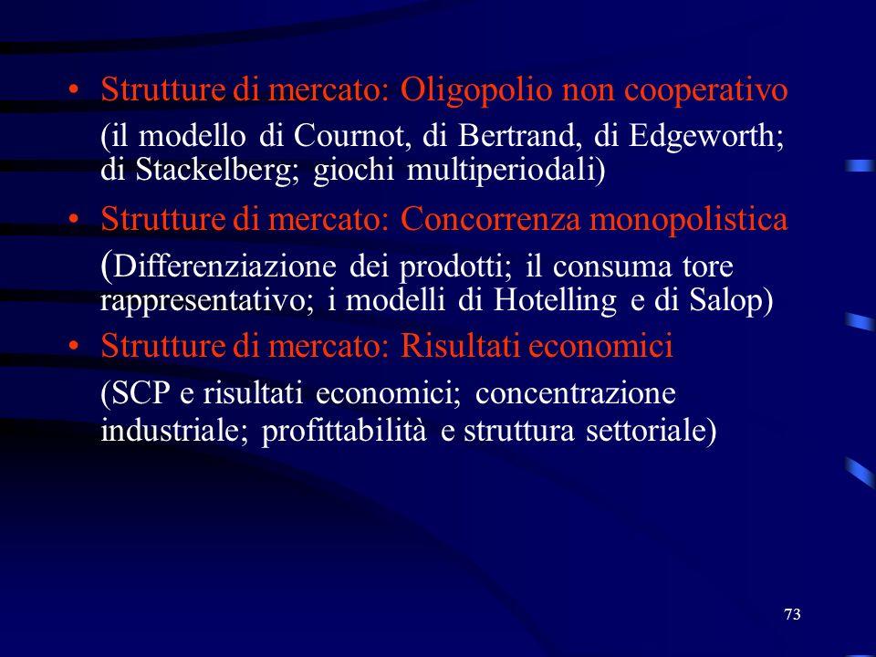 Strutture di mercato: Oligopolio non cooperativo