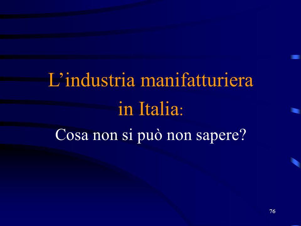 L'industria manifatturiera in Italia: