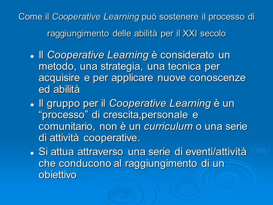 Come il Cooperative Learning può sostenere il processo di raggiungimento delle abilità per il XXI secolo