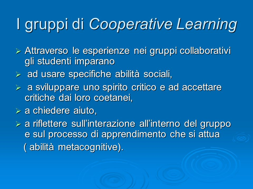 I gruppi di Cooperative Learning