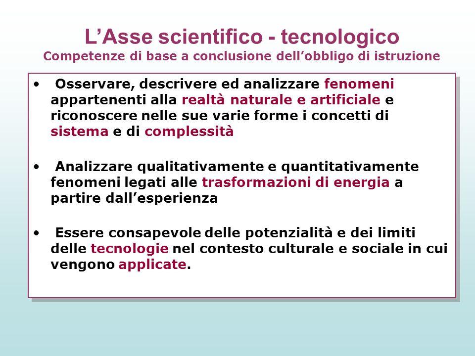 L'Asse scientifico - tecnologico Competenze di base a conclusione dell'obbligo di istruzione