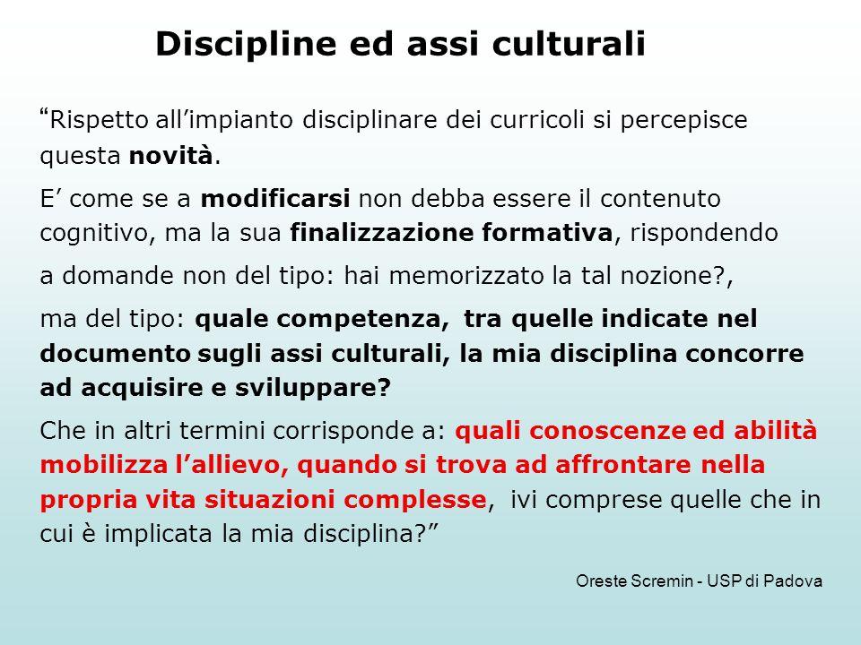 Discipline ed assi culturali