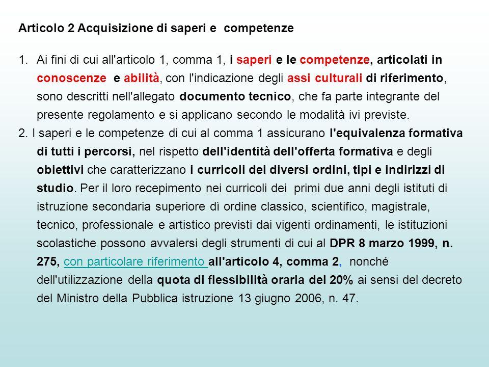 Articolo 2 Acquisizione di saperi e competenze